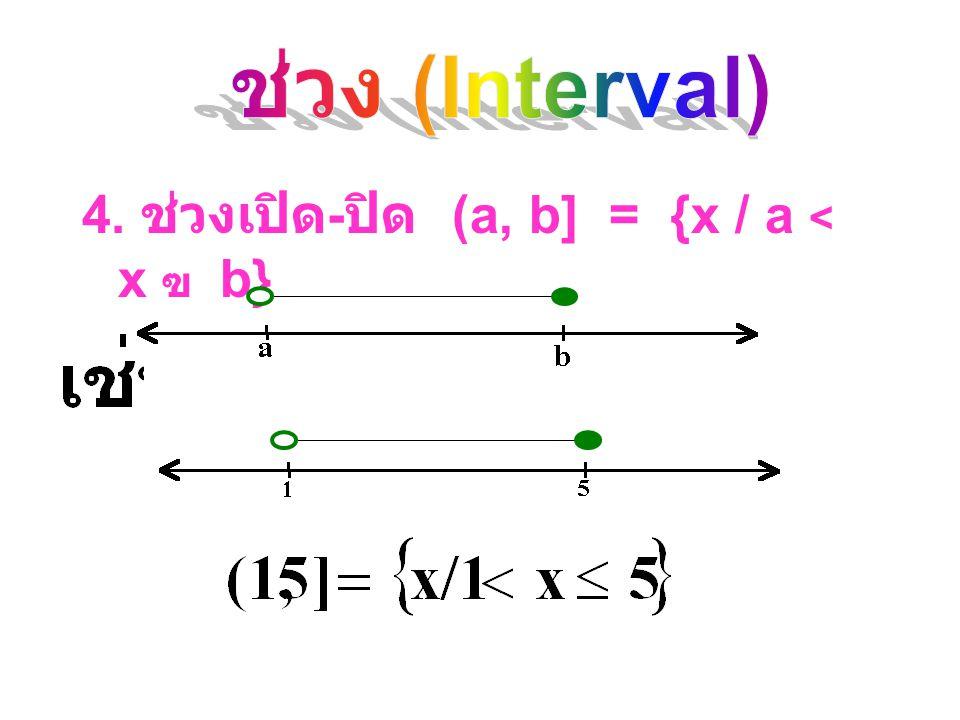 4. ช่วงเปิด-ปิด (a, b] = {x / a < x ฃ b}